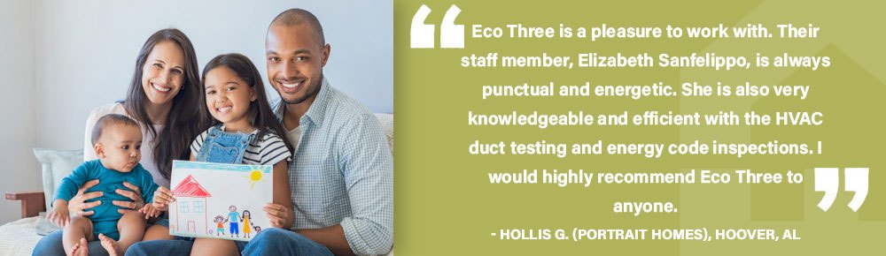 Eco Three is a pleasure to work with. Their staff member, Elizabeth Sanfelippo, is always punctual and energetic. She is also very knowledgeable and efficient with the HVAC duct testing and energy code inspections. I would highly recommend Eco Three to anyone.