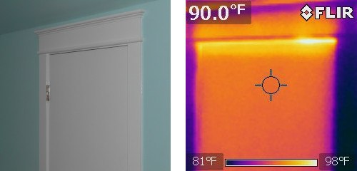 attic access door uninsulated and no weatherstripping with thermal